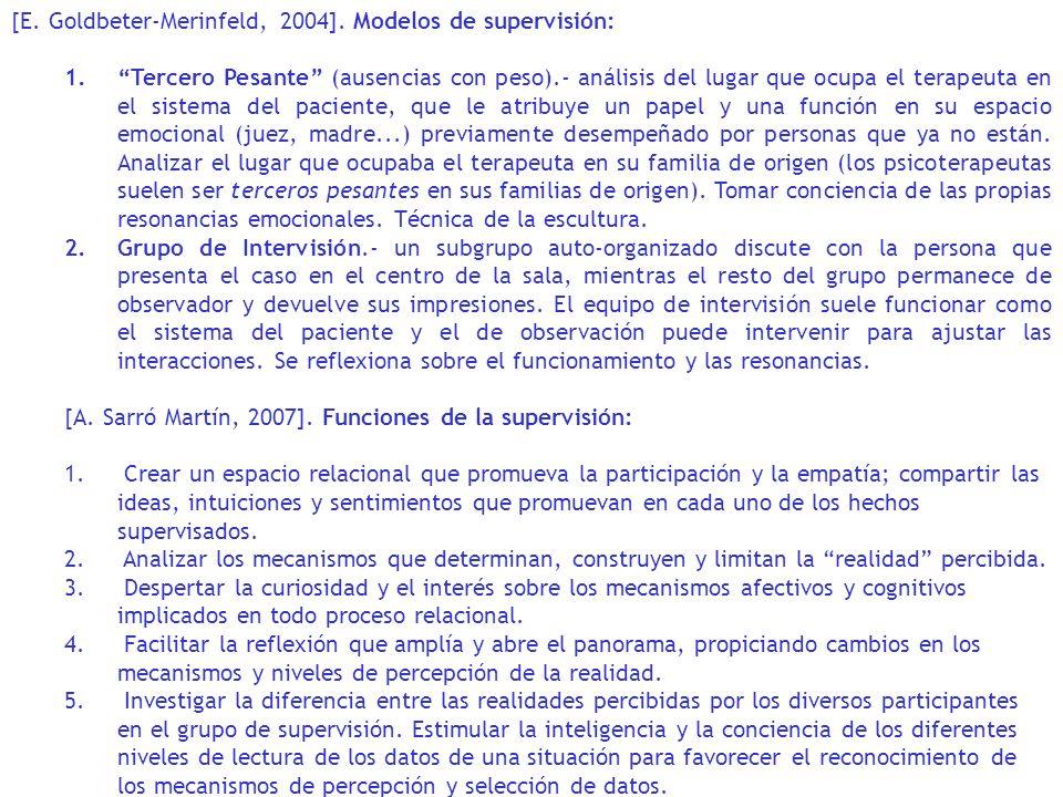 [E. Goldbeter-Merinfeld, 2004]. Modelos de supervisión: